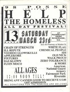 Help the Homeless All Day Festival, with Ill Repute, Chain of Strength, Voodoo Glowskulls, White Flag, Chemical People and more, Riverside 1991, provided by Greg Artifix