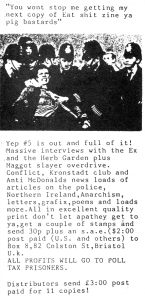 Benefit for Poll Tax Prisoners, Yep fanzine, No. 5, Maximum RocknRoll, No. 99, 1991