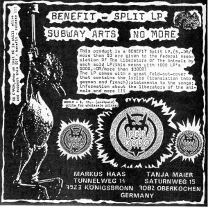 Benefit for the Federal Association of the Liberators of the Animals with Subway Arts and No More, from Maximum RocknRoll No. 114, 1992