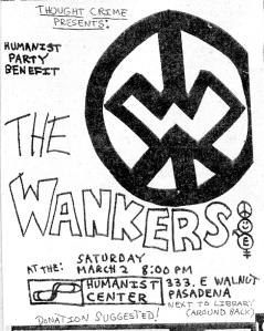Humanist Party Benefit with The Wankers, 1980s, reprinted in Razorcake No. 83